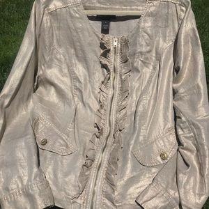 Gold ruffle zip up jacket
